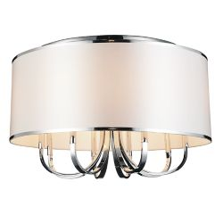 CWI Lighting Orchid 24 inch 6 Light Flush Mounts with Chrome Finish