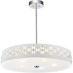 Stellar 19 inch 5 Light Chandeliers with White Finish