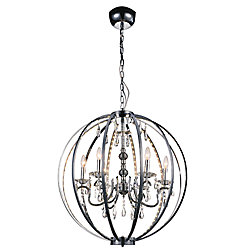 Abia 28 inch 6 Light Chandeliers with Chrome Finish