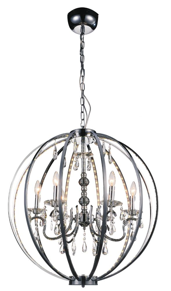 CWI Lighting Abia 28 inch 6 Light Chandeliers with Chrome Finish