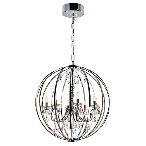 Abia 34 inch 8 Light Chandeliers with Chrome Finish