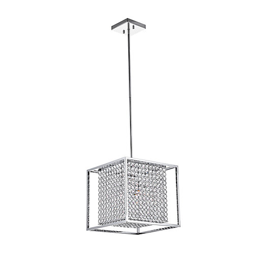 Cube 12 inch 3 Light Chandelier with Chrome Finish