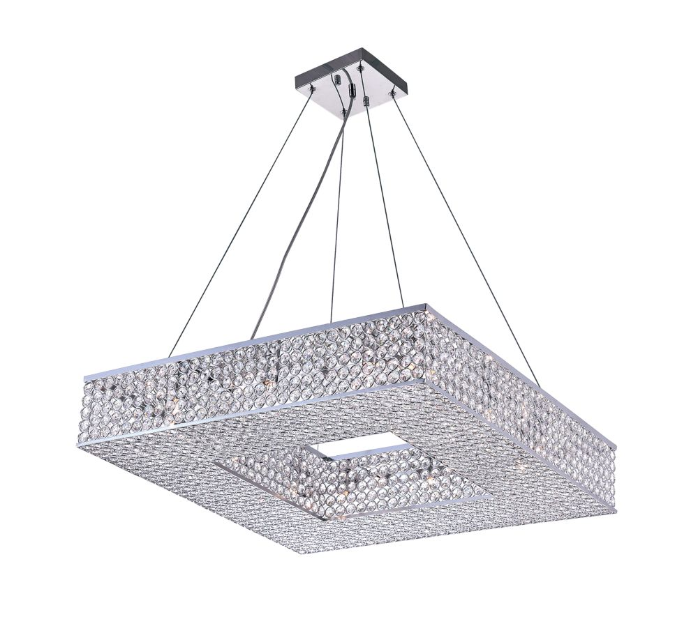 CWI Lighting Dannie 24 inch 12 Light Chandelier with Chrome Finish
