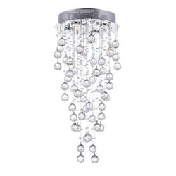 CWI Lighting Rain Drop 14 inch 4 Light Flush Mount with Chrome Finish
