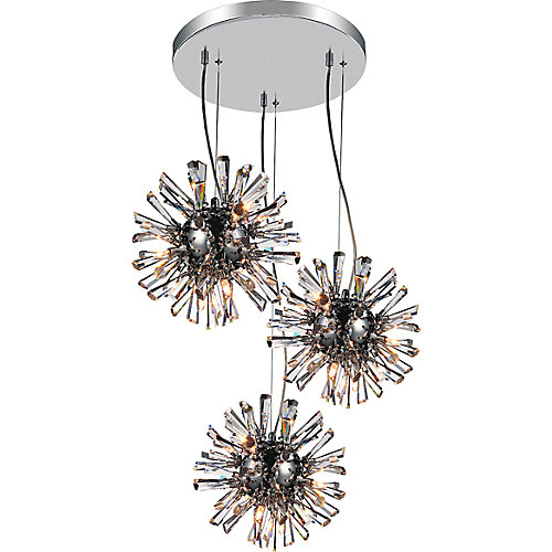 Flair 25 inch 27 Light Chandelier with Chrome Finish
