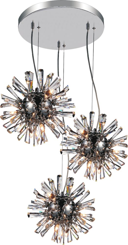 CWI Lighting Flair 25 inch 27 Light Chandelier with Chrome Finish