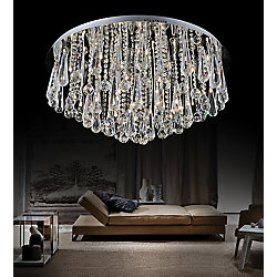 CWI Lighting Brianna 24-inch 12 Light Flush Mount with Chrome Finish