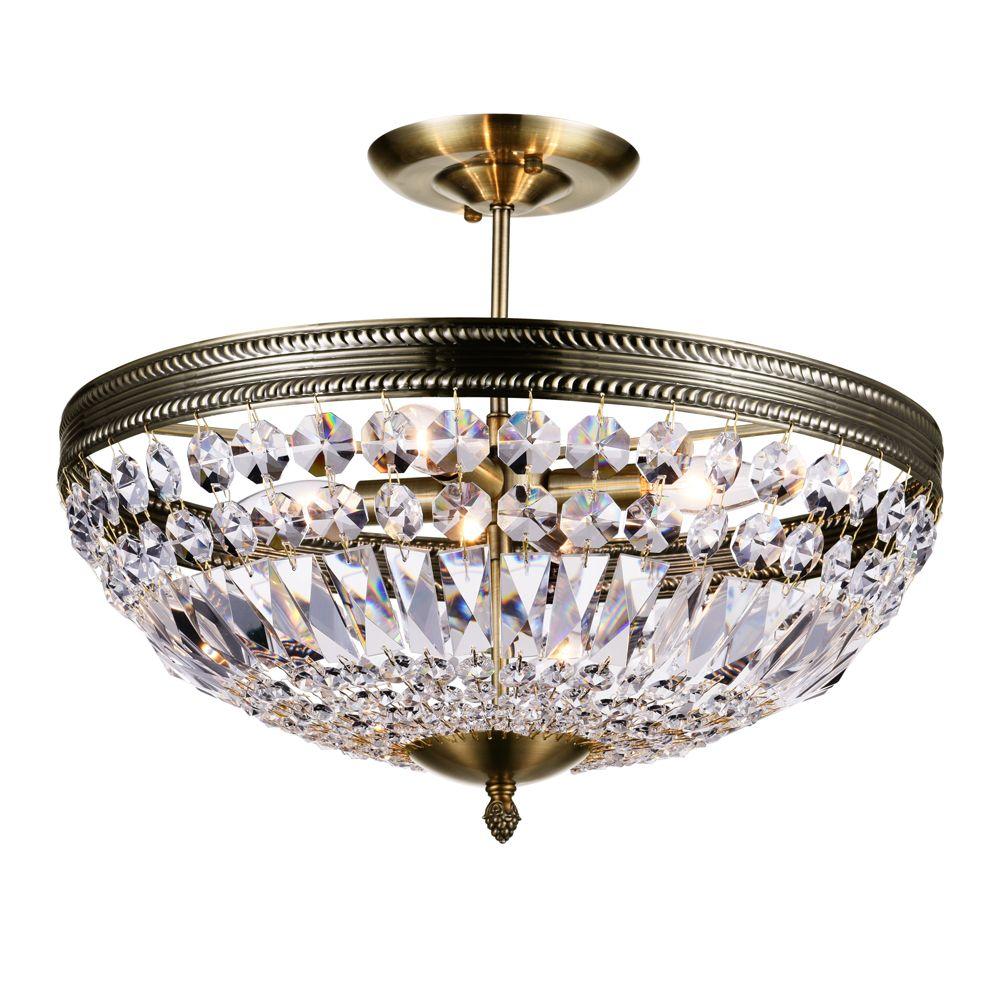CWI Lighting Cornelius 18 inch 4 Light Chandelier with Antique Brass Finish