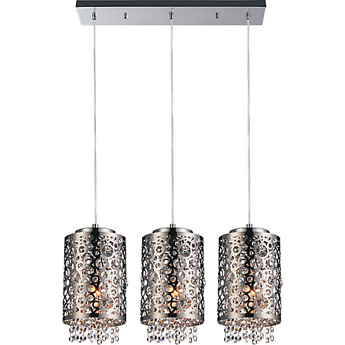 Bubbles 34 inch 3 Light Chandelier with Chrome Finish