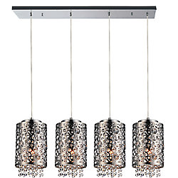 Bubbles 40 inch 4 Light Chandelier with Chrome Finish
