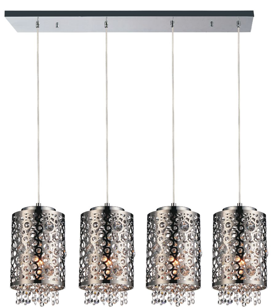 CWI Lighting Bubbles 40 inch 4 Light Chandelier with Chrome Finish