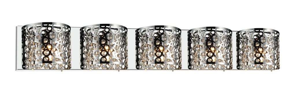 CWI Lighting Bubbles 43-inch 5 Light Wall Sconce with Chrome Finish