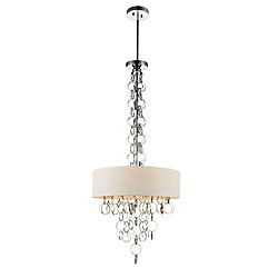Chained 16 inch 4 Light Chandelier with Chrome Finish