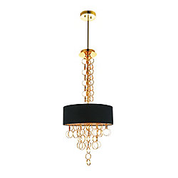 Chained 16 inch 4 Light Chandelier with Gold Finish