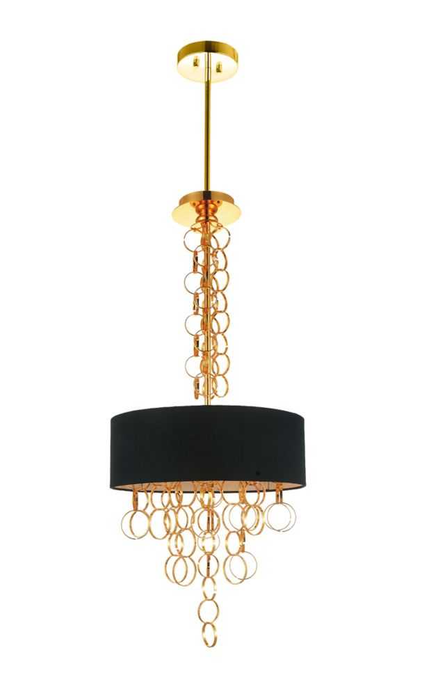 CWI Lighting Chained 16 inch 4 Light Chandelier with Gold Finish