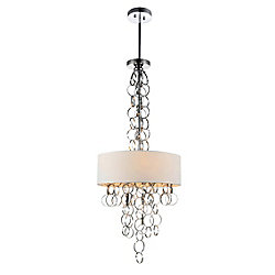 Chained 20 inch 6 Light Chandelier with Chrome Finish