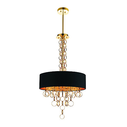 Chained 20 inch 6 Light Chandelier with Gold Finish