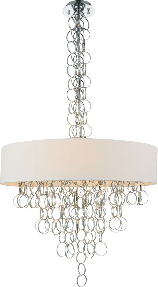 CWI Lighting Chained 26 inch 8 Light Chandelier with Chrome Finish