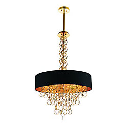 Chained 26 inch 8 Light Chandelier with Gold Finish