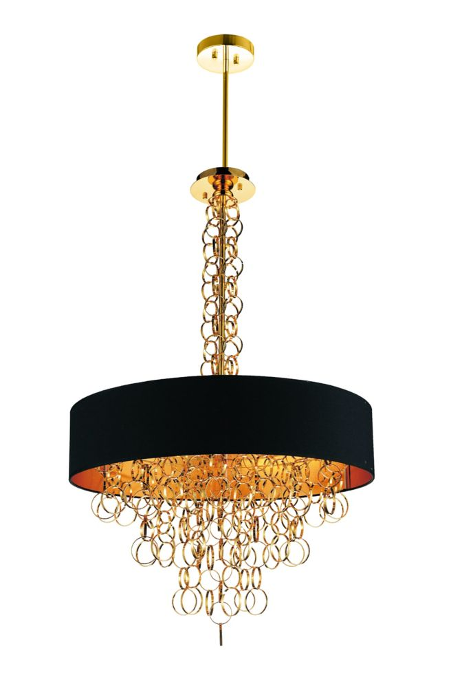 CWI Lighting Chained 26 inch 8 Light Chandelier with Gold Finish