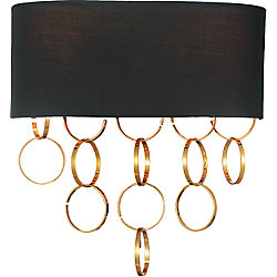 Chained 12 inch 2 Light Wall Sconce with Gold Finish
