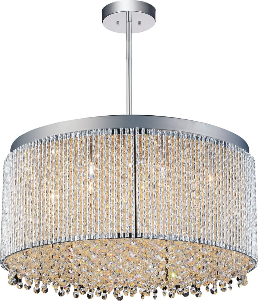 CWI Lighting Claire 20-inch 12-Light Chandelier with Chrome Finish