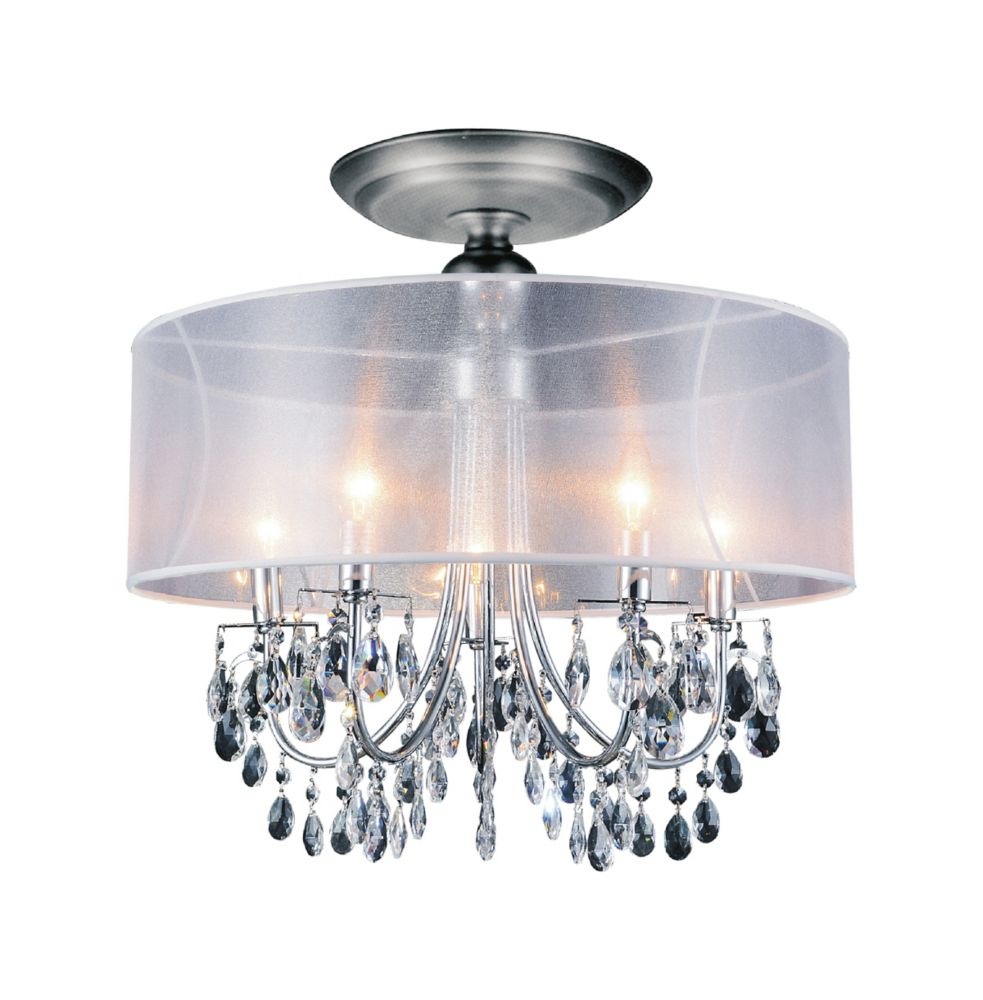 CWI Lighting Halo 22 inch 5 Light Flush Mount with Chrome Finish