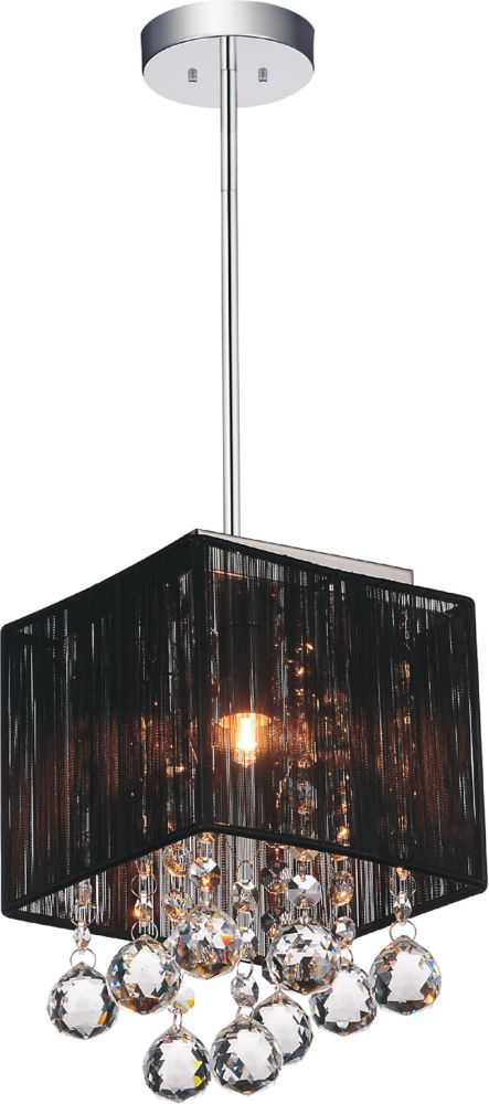 CWI Lighting Shower 6-inch 1 Light Mini Pendant with Chrome Finish