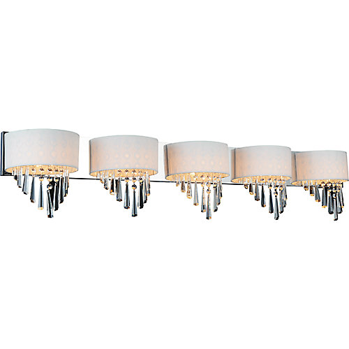 Burney 48 inch 5 Light Wall Sconce with Chrome Finish