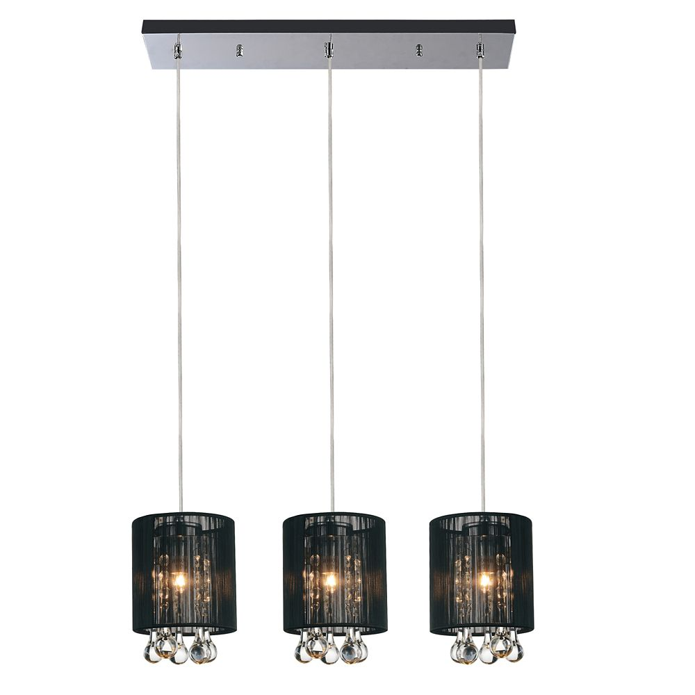 CWI Lighting Water Drop 7.2 inch 3 Light Chandelier with Chrome Finish