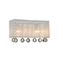 Water Drop 18 inch 3 Light Wall Sconce with Chrome Finish and Silver Shade