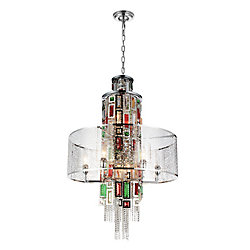 Stained 24 inch 11 Light Chandelier with Chrome Finish