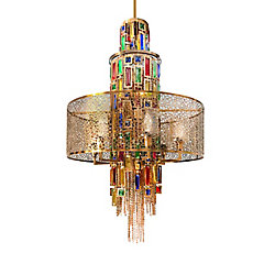Stained 24 inch 11 Light Chandelier with Gold Finish
