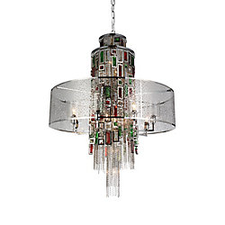 Stained 32 inch 15 Light Chandelier with Chrome Finish