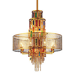 Stained 32 inch 15 Light Chandelier with Gold Finish