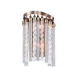 Storm 4 inch 2 Light Wall Sconce with Gold Finish