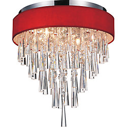 Franca 16 inch 4 Light Flush Mount with Chrome Finish and Red Shade