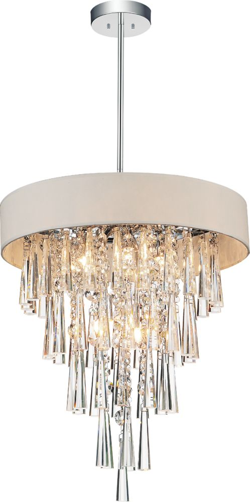 CWI Lighting Franca 16 inch Six Light Chandelier with Chrome Finish