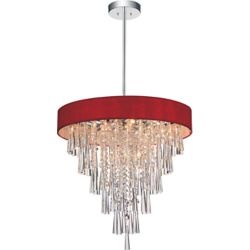 CWI Lighting Franca 22 inch 8 Light Chandelier with Chrome Finish and Red
