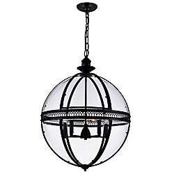 CWI Lighting Lune 24 inch 5 Light Chandelier with Sphere Shape and Black Finish
