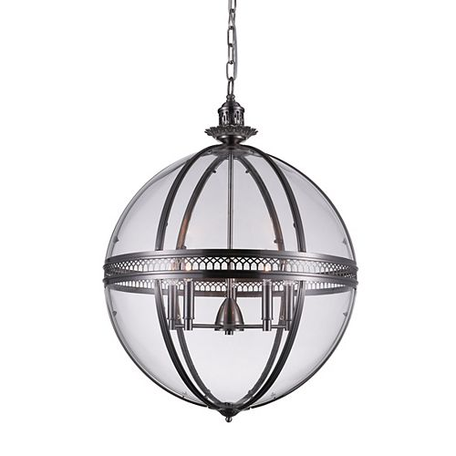 Lune 24 inch 5 Light Chandelier with Sphere Shape and Satin Nickel Finish