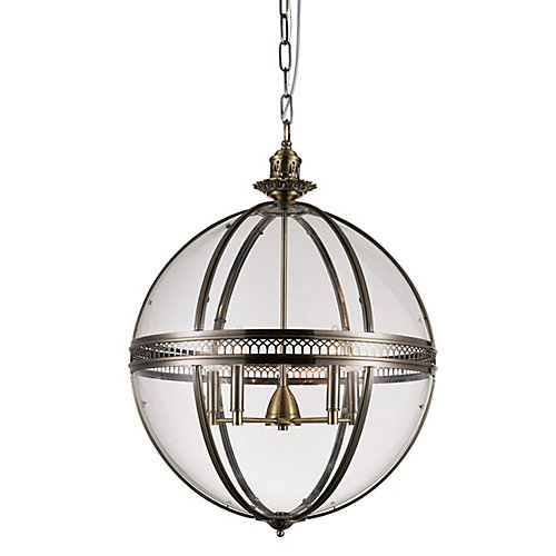 Lune 24 inch 5 Light Chandelier with Sphere Shape and Bronze Finish