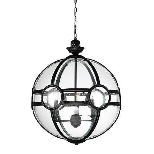Beas 20 inch 3 Light Chandelier with Sphere Shape and Black Finish