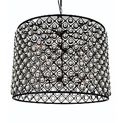 Renous 36 inch 16 Light Chandelier with Black Finish and Clear Crystals