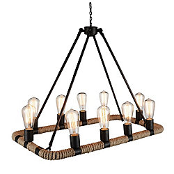 Ganges 17 inch 10 Light Chandelier with Brown Finish
