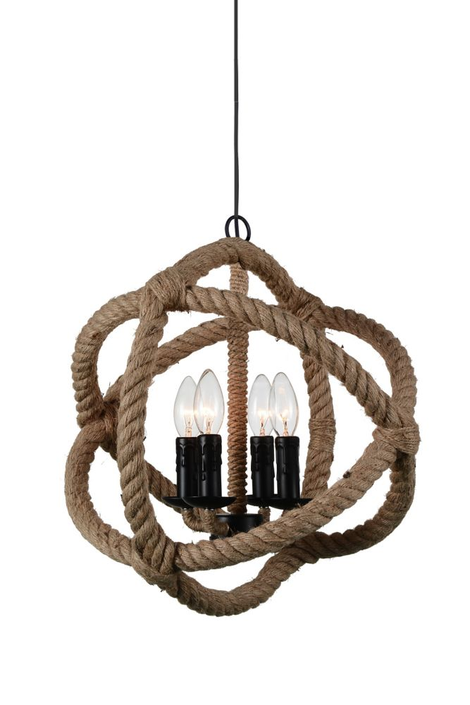 CWI Lighting Padma 17-inch 4-Light Chandelier with Black Finish
