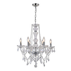Princeton 22 inch Six Light Chandelier with Chrome Finish