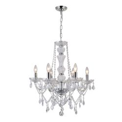 CWI Lighting Princeton 22 inch Six Light Chandelier with Chrome Finish