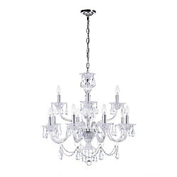 Lexis 28 inch 12 Light Chandelier with Chrome Finish