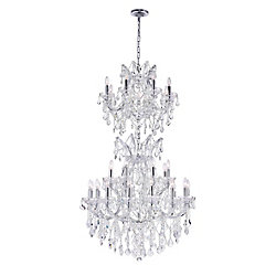 Maria Theresa 32 inch 34 Light Chandelier with Chrome Finish